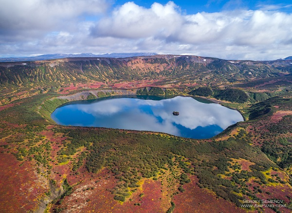 The caldera of the Uzon volcano